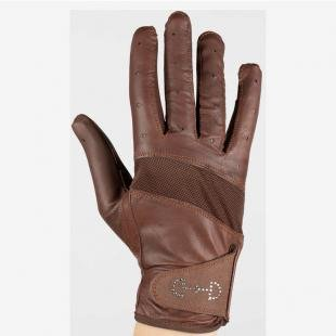 Horze Rękawiczki Leather Mesh S20 brąz